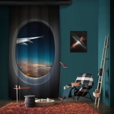 Vip Flight Shades of Blue One Piece Panel Curtain