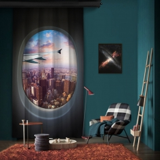 Vip Flight New York View One Piece Panel Curtain