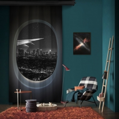 Vip Flight Black White Evening View One Piece Panel Curtain