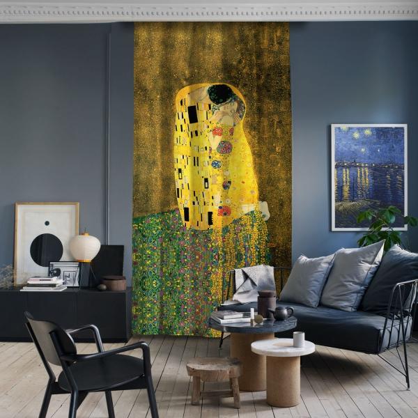 Gustav Klimt - Öpücük Tek Kanat Fon Perde