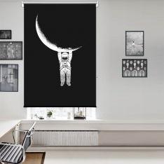 Ay ve Astronot Tek Kanat Stor Perde