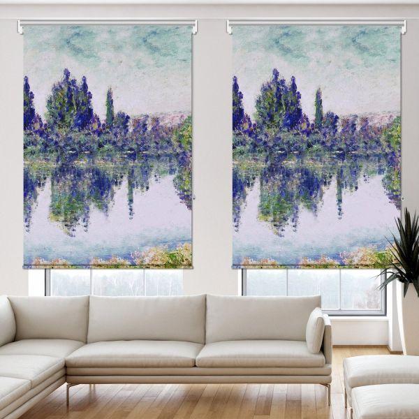 Claude Monet - Seine'de Sabah 2 Kanat Stor Perde