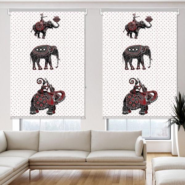 Etnik Filler İllüstrasyon 2 Kanat Stor Perde