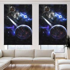 Fantazi Gezegenler Uzay 2 Kanat Stor Perde