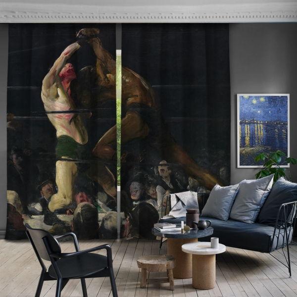 George Bellows-Bu Kulübün İki Üyesi 2 Kanat Fon Perde