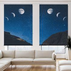 Gökyüzü ve Ay Manzarası Çift Kanat Stor Perde