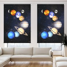Güneş Sistemi Uzay 2 Kanat Stor Perde