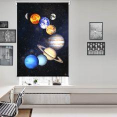 Güneş Sistemi Uzay Tek Kanat Stor Perde