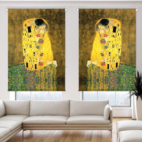 Gustav Klimt - Öpücük 2 Kanat Stor Perde