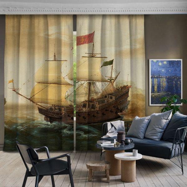 Hollanda ve İspanyol Savaş Gemileri Arasında Bir Denizci Buluşması 2 Kanat Fon Perde