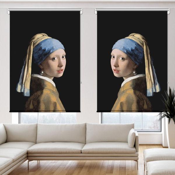 Johannes Vermeer - İnci Küpeli Kız 2 Kanat Stor Perde