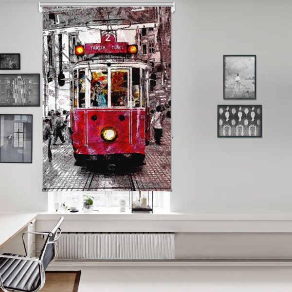 Nostalji Tramway Tek Kanat Stor Perde