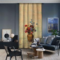 Odilon Redon-Vazodaki Çiçekler Tek Kanat Fon Perde