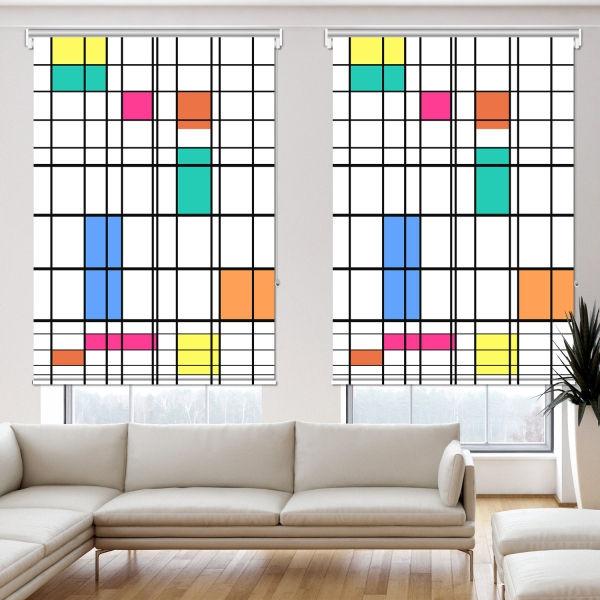 Piet Mondrian - Renk ve Çizgi 2 Kanat Stor Perde