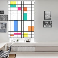 Piet Mondrian - Renk ve Çizgi Tek Kanat Stor Perde