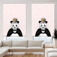 Romantik Panda Pembe 2 Kanat Stor Perde