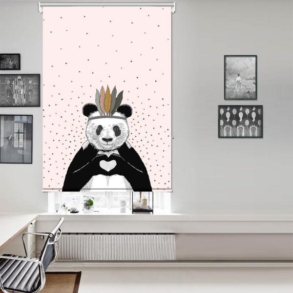 Romantik Panda Pembe Tek Kanat Stor Perde