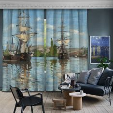 Ships Riding on the Seine at Rouen 2 Pieces Panel Curtain