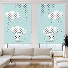 Downpour Panda Blue 2 Panel Roller Blind