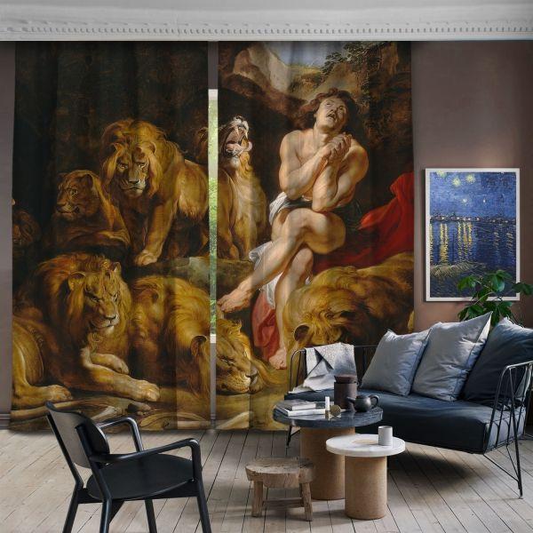 Sir Peter Paul Rubens-Aslanlar ve Daniel 2 Kanat Fon Perde