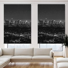 Black White Evening View 2 Panel Roller Blind