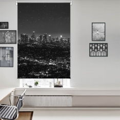 Black White Evening View Single Roller Blind