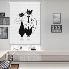 Siyah İllüstrasyon Kedi Çifti Tek Kanat Stor Perde
