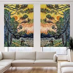 Vincent Van Gogh - Palmiye Ağaçları 2 Kanat Stor Perde
