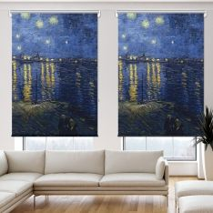 Vincent Van Gogh - Rhone Üzerinde Yıldızlı Gece 2 Kanat Stor Perde