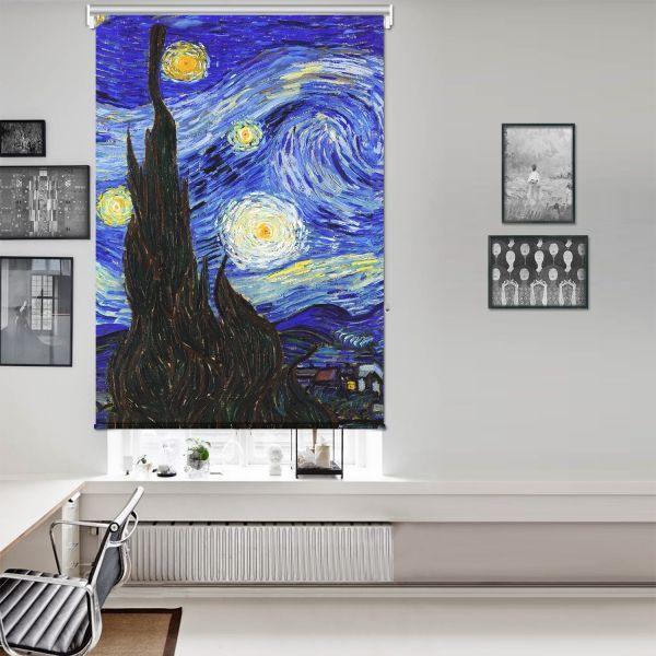 Vincent Van Gogh - Yıldızlı Gece Panel 1 Tek Kanat Stor Perde