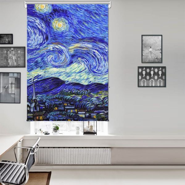Vincent Van Gogh - Yıldızlı Gece Panel 2 Tek Kanat Stor Perde