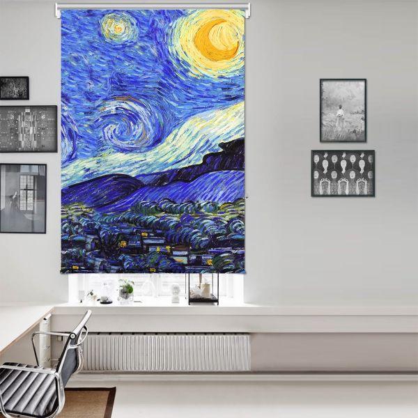 Vincent Van Gogh - Yıldızlı Gece Panel 3 Tek Kanat Stor Perde