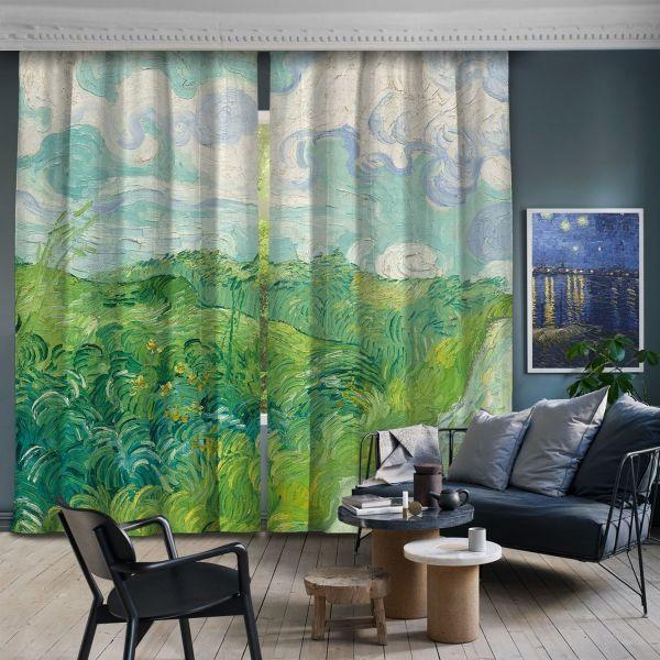 Vincent Van Gogh Yeşil Buğday Tarlaları 2 Kanat Fon Perde
