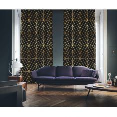 Art Deco No:1 Gold Light-Dark Coffee 2 Panel Curtain