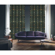 Art Deco No:1 Gold Light-Dark Green 2 Panel Curtain