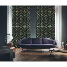 Art Deco No:1 Gold Light-Dark Green-Navy Blue 2 Panel Curtain