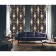 Art Deco No:1 Gold Light-Purple-Light Brown 2 Panel Curtain