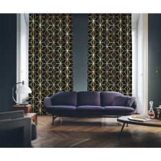 Art Deco No:2 Gold Light-Black 2 Panel Curtain