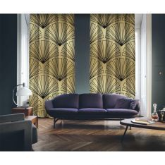 Art Deco No:3 Gold Background-Black 2 Panel Curtain