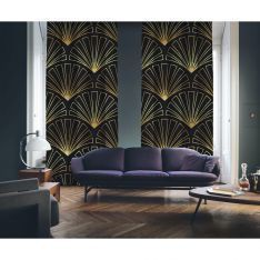 Art Deco No:3 Black Background-Gold Light 2 Panel Curtain
