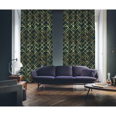 Art Deco No:4 Gold Light-Dark Green 2 Panel Curtain