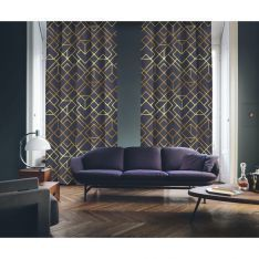 Art Deco No:4 Gold Light-Purple 2 Panel Curtain