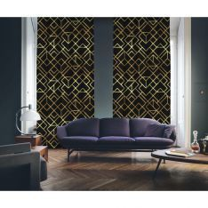 Art Deco No:4 Black Background-Gold Light 2 Panel Curtain