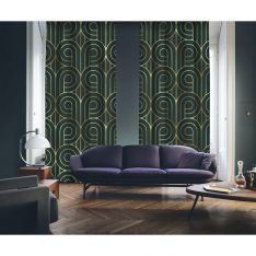Art Deco No:5 Gold Light-Dark Green 2 Panel Curtain