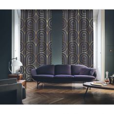 Art Deco No:5 Gold Light-Purple 2 Panel Curtain