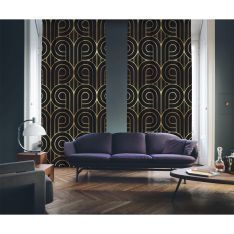 Art Deco No:5 Black Background-Gold Light 2 Panel Curtain