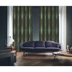 Art Deco No:6 Gold Light-Dark Green 2 Panel Curtain
