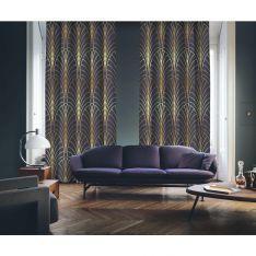 Art Deco No:6 Gold Light-Purple 2 Panel Curtain