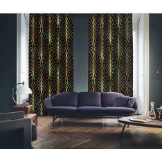 Art Deco No:6 Black Background-Gold Light 2 Panel Curtain