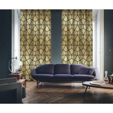 Art Deco No:7 Altın Zemin-Siyah 2 Kanat Fon Perde